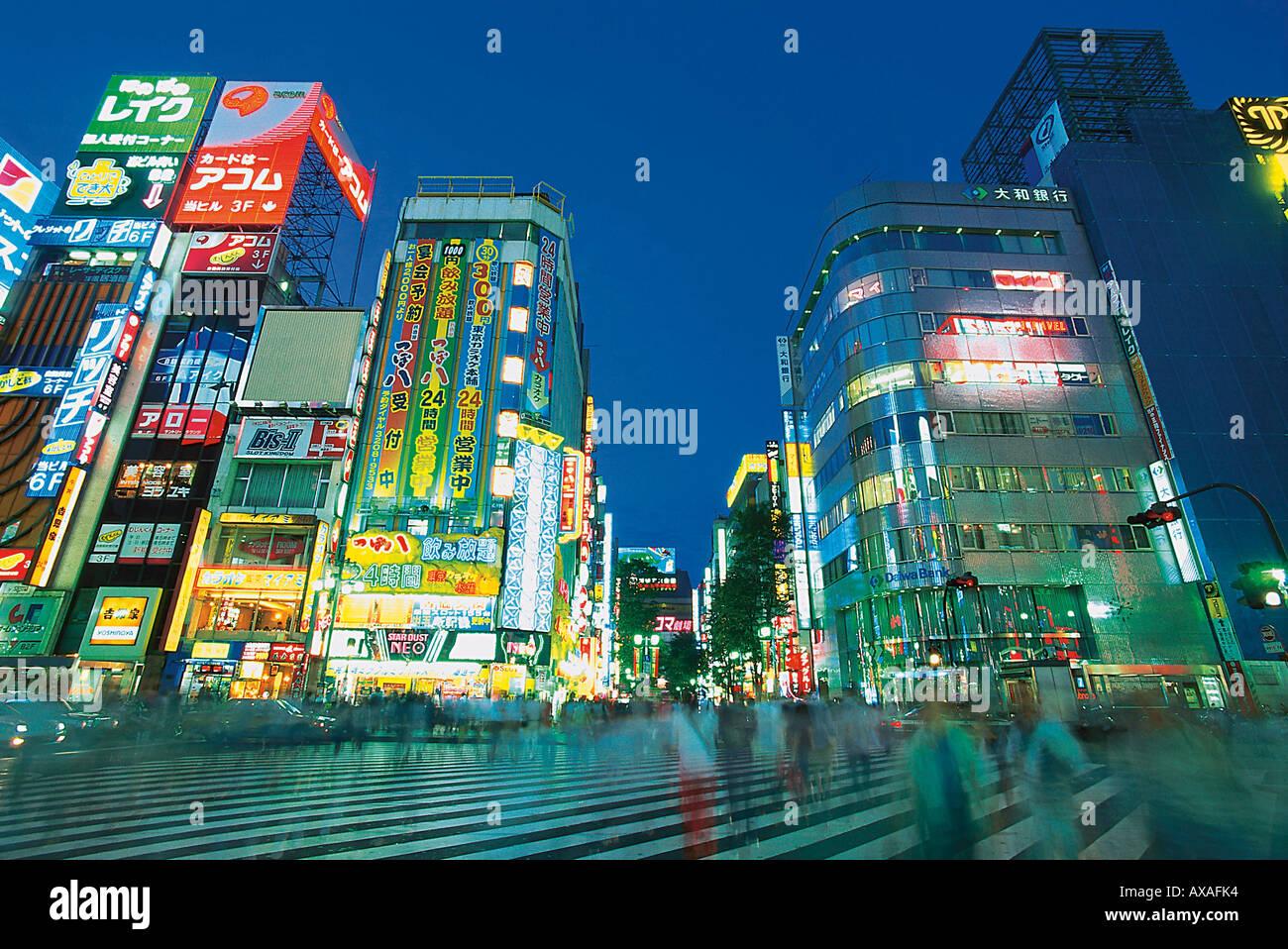 Strassenszene, Leuchtreklame, Tokio Japan - Stock Image