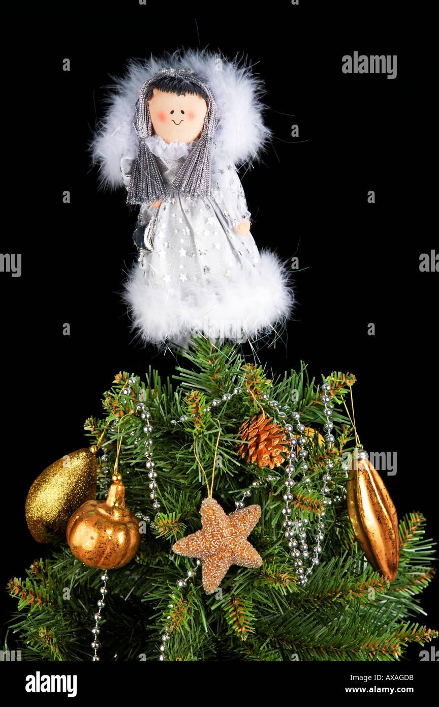 Fairy On Christmas Tree Part - 19: Happy Christmas Tree Fairy On Black Background