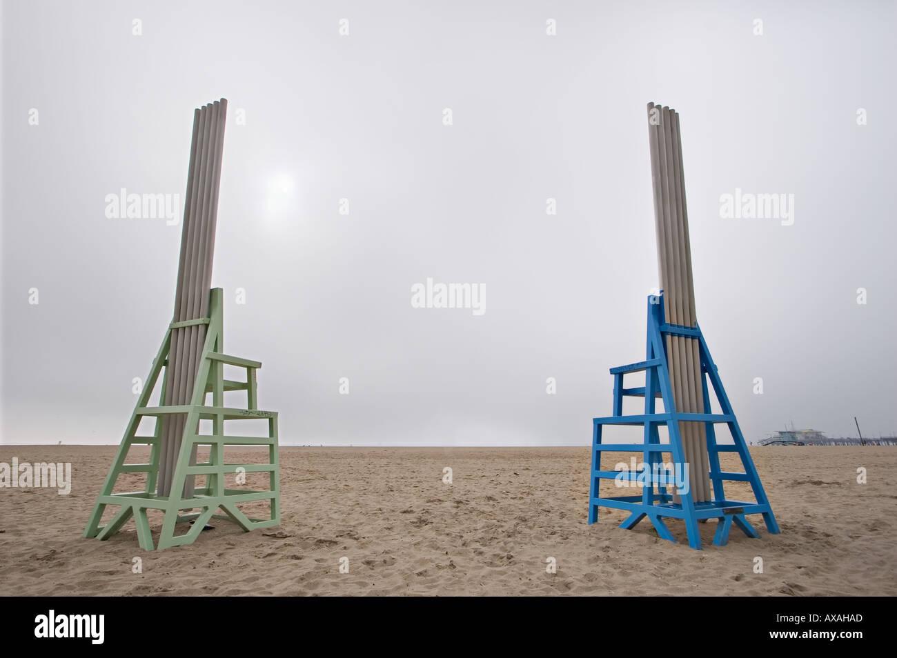 Big beach chairs sculpture on Santa Monica beach & Big beach chairs sculpture on Santa Monica beach Stock Photo ...