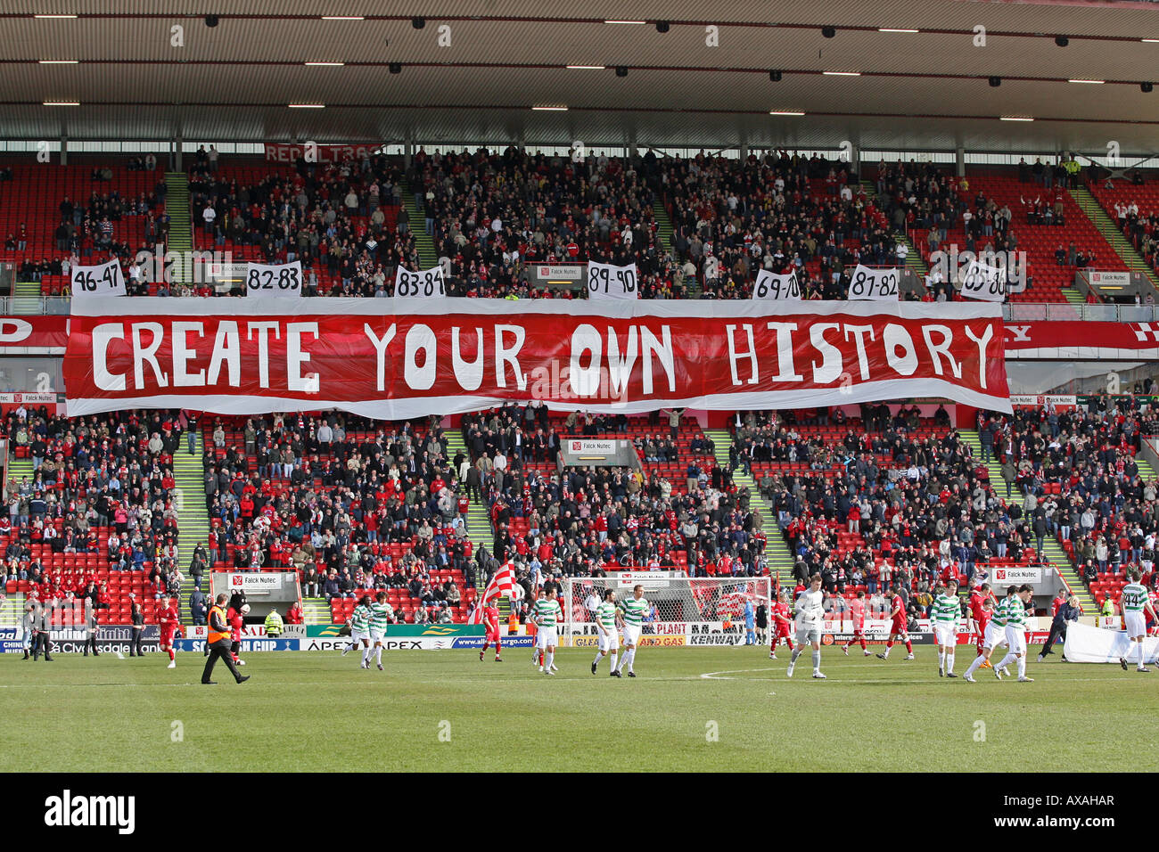 2356bcc6cc Huge banner in the Richard Donald stand Aberdeen Football Club Pittodrie  Stadium before a match with