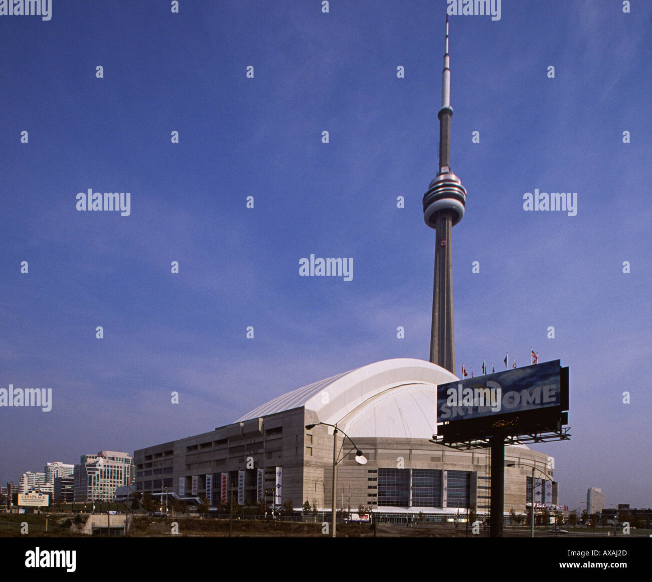 Toronto Skydome and CN Tower Retractable roof stadium and 549 metre observation tower Central Toronto Ontario Canada - Stock Image