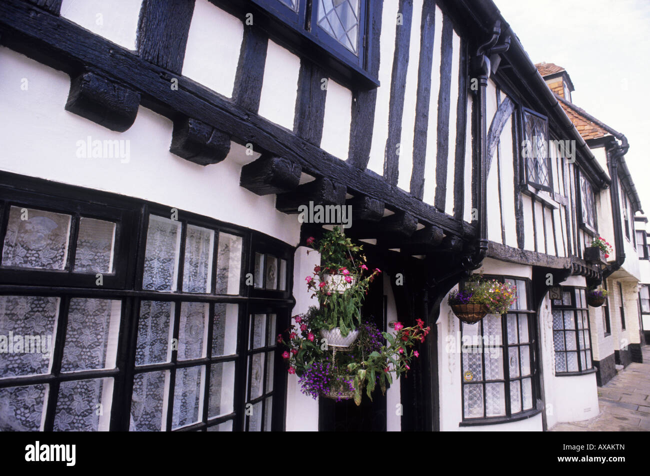 Hastings Old Town High Street black white timbered buildings - Stock Image
