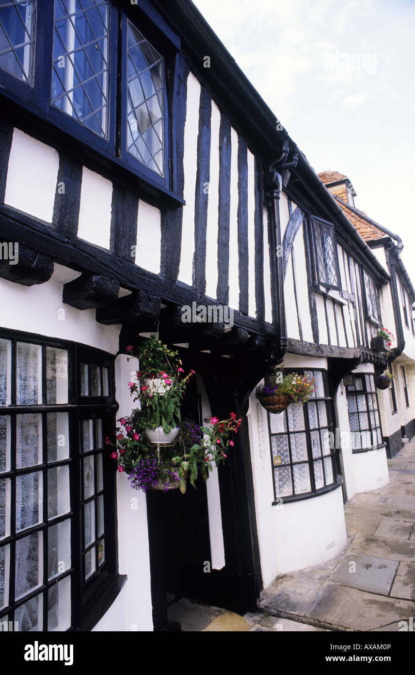 Hastings Old Town High Street scene black white timbered buildings Sussex England UK English traditional architecture - Stock Image