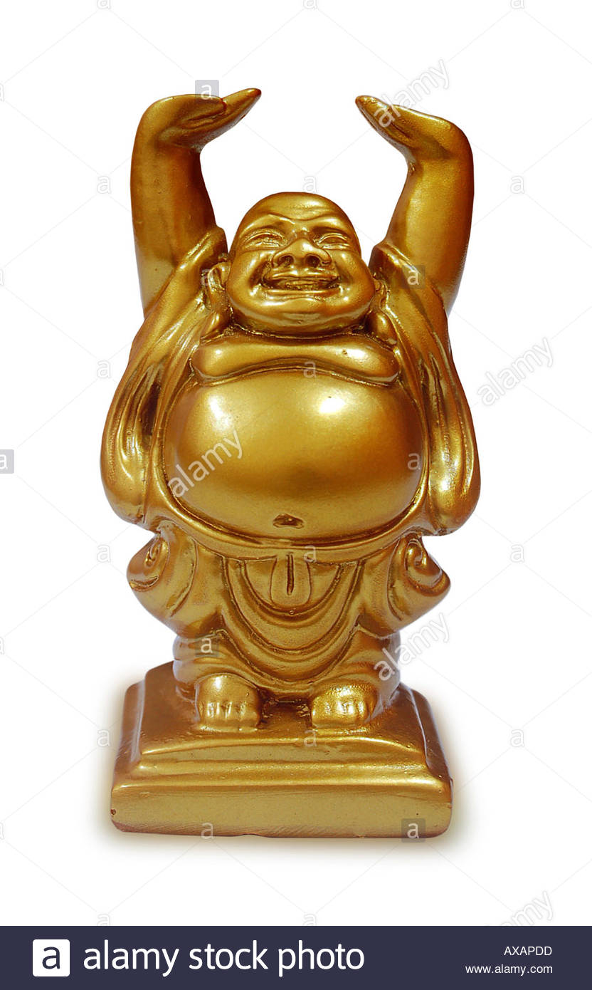 buddha statue meaning luck laughing buddha golden colour statue standing raised 10504