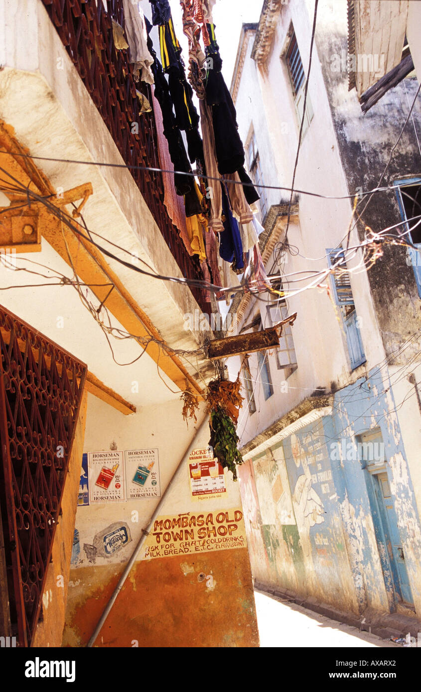 Street with washing, architectur house - Stock Image