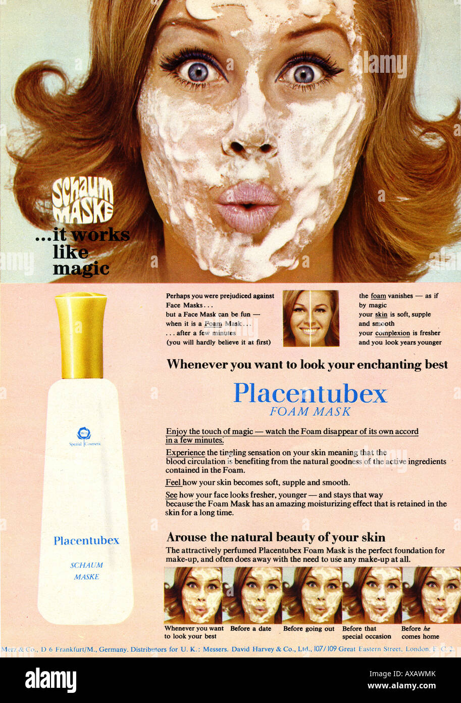 1960s April 1969 magazine advertisement for Placentubex Foam Face Mask FOR EDITORIAL USE ONLY - Stock Image