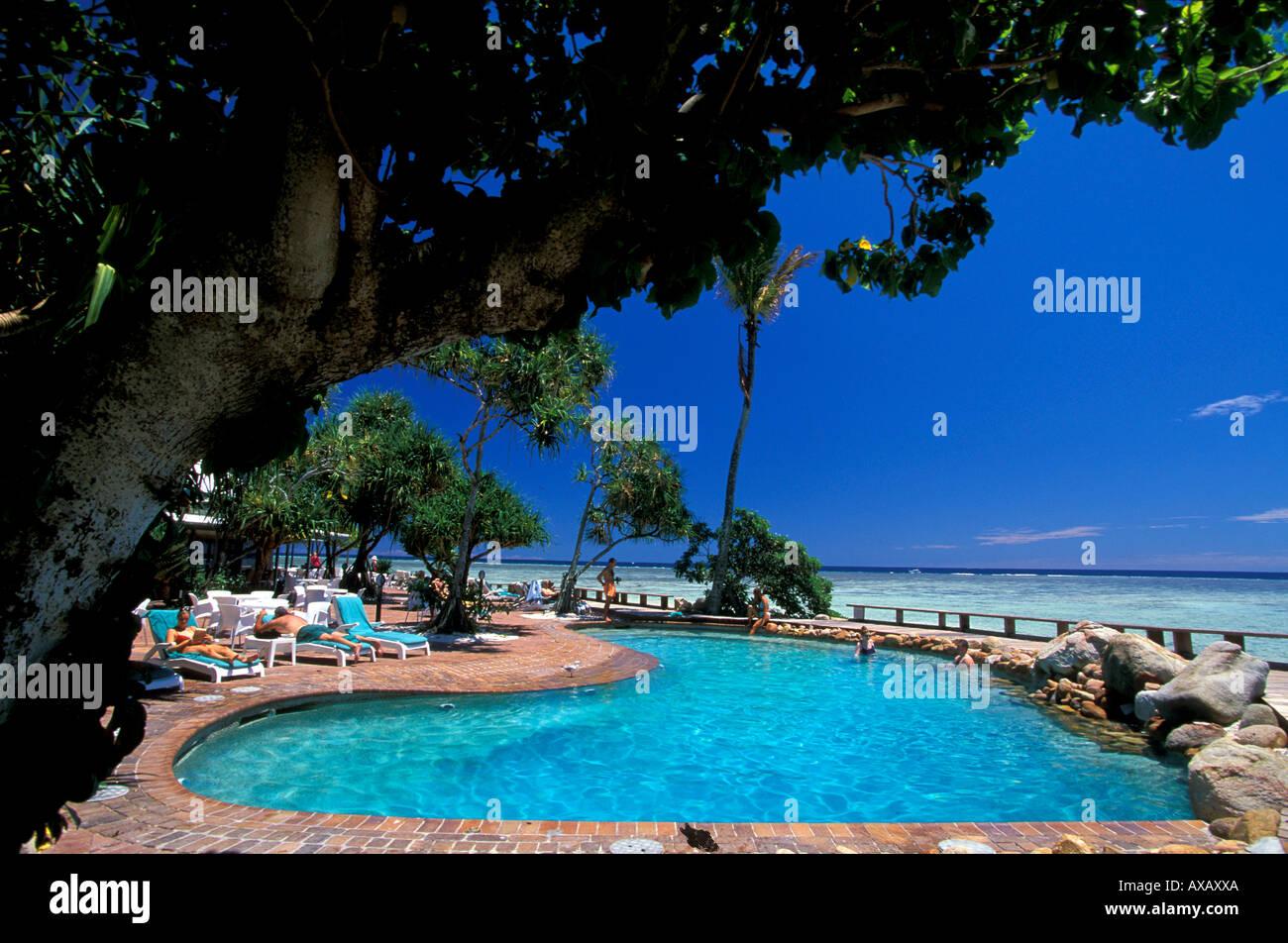 Dunk Island Great Barrier Reef Australia: Queensland Island Resort Pool Stock Photos & Queensland