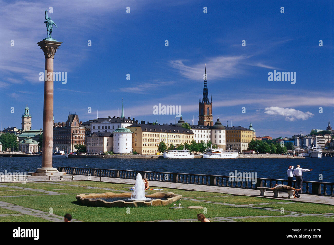 View to Riddarholmen and Stadhuset, Stockholm, Sweden - Stock Image
