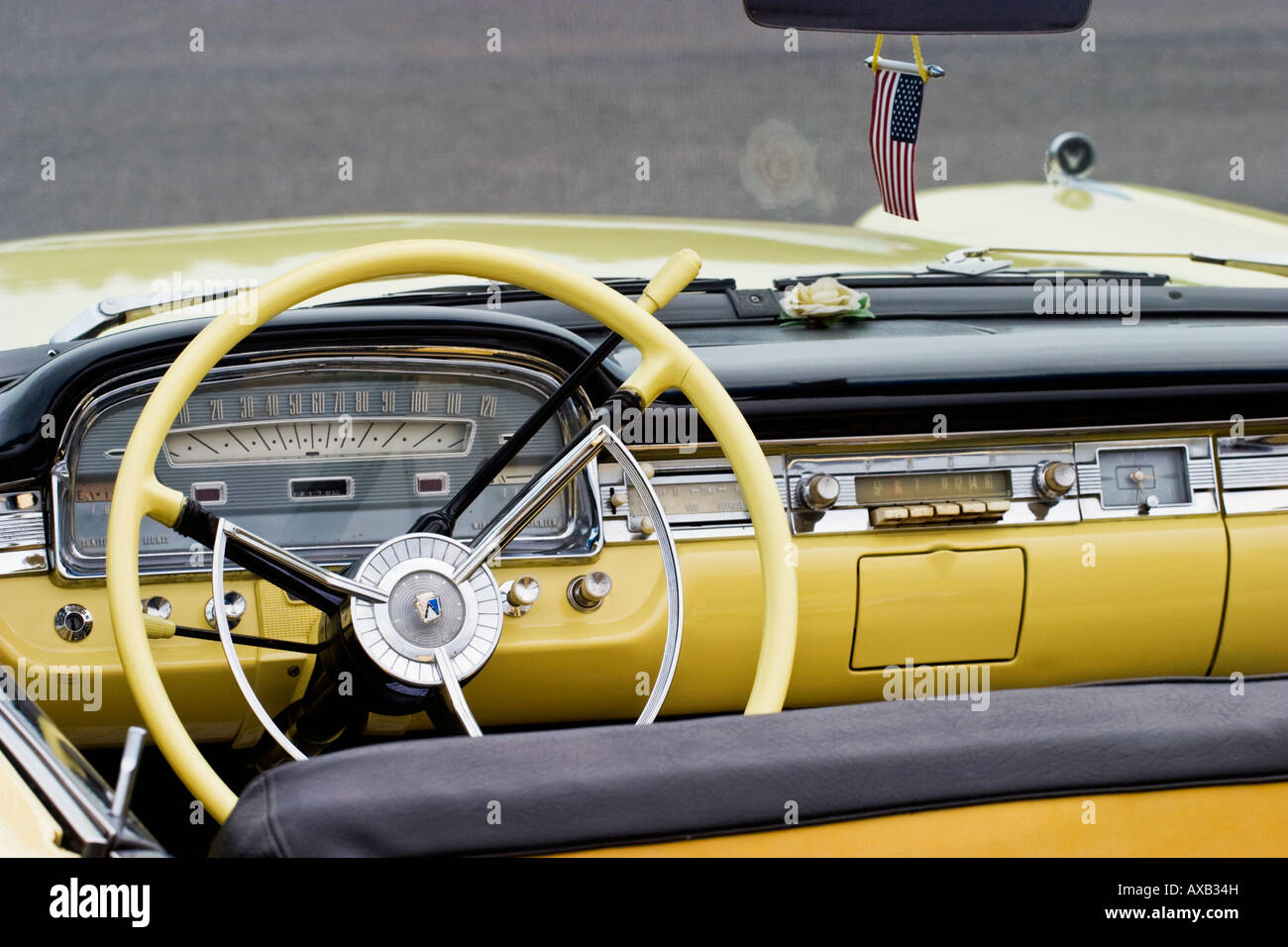 Interior from a old american car - Stock Image