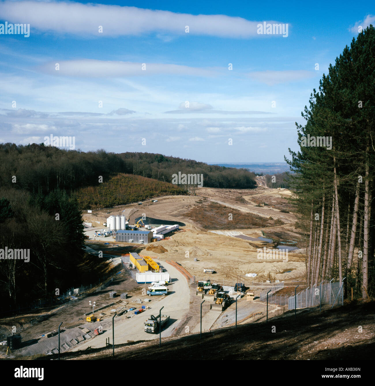 The uncompleted A3 Hindhead road improvement scheme (north side tunnel entrance) Hindhead. Feb 2008. - Stock Image