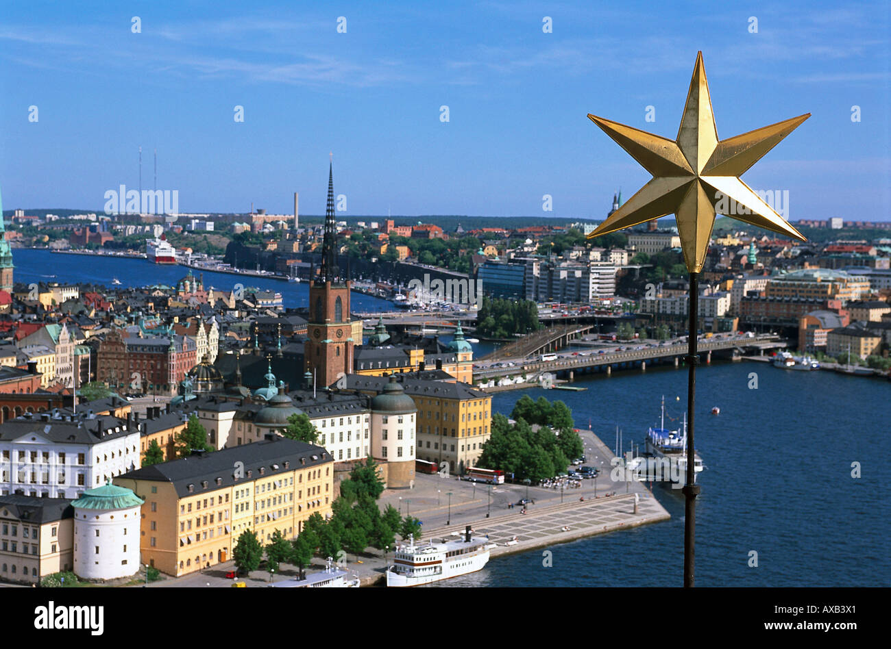 View over Stockholm and Stadhuset, Stockholm, Sweden - Stock Image