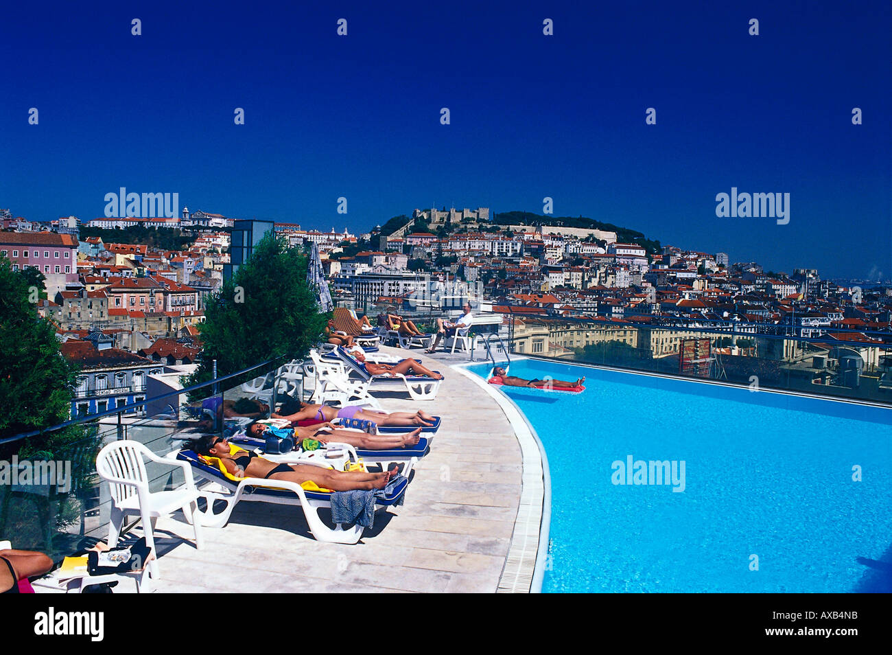 Rooftop terrace and swimming pool stock photos rooftop - Hotels in lisbon portugal with swimming pool ...