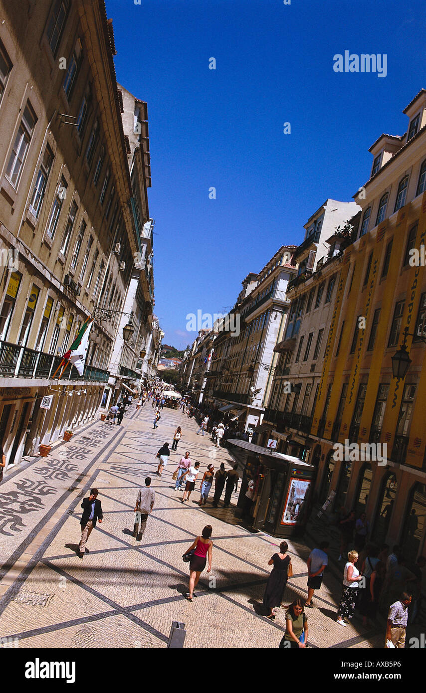 Street of Baixa with passers-by, Baixa, Lisbon, Portugal - Stock Image