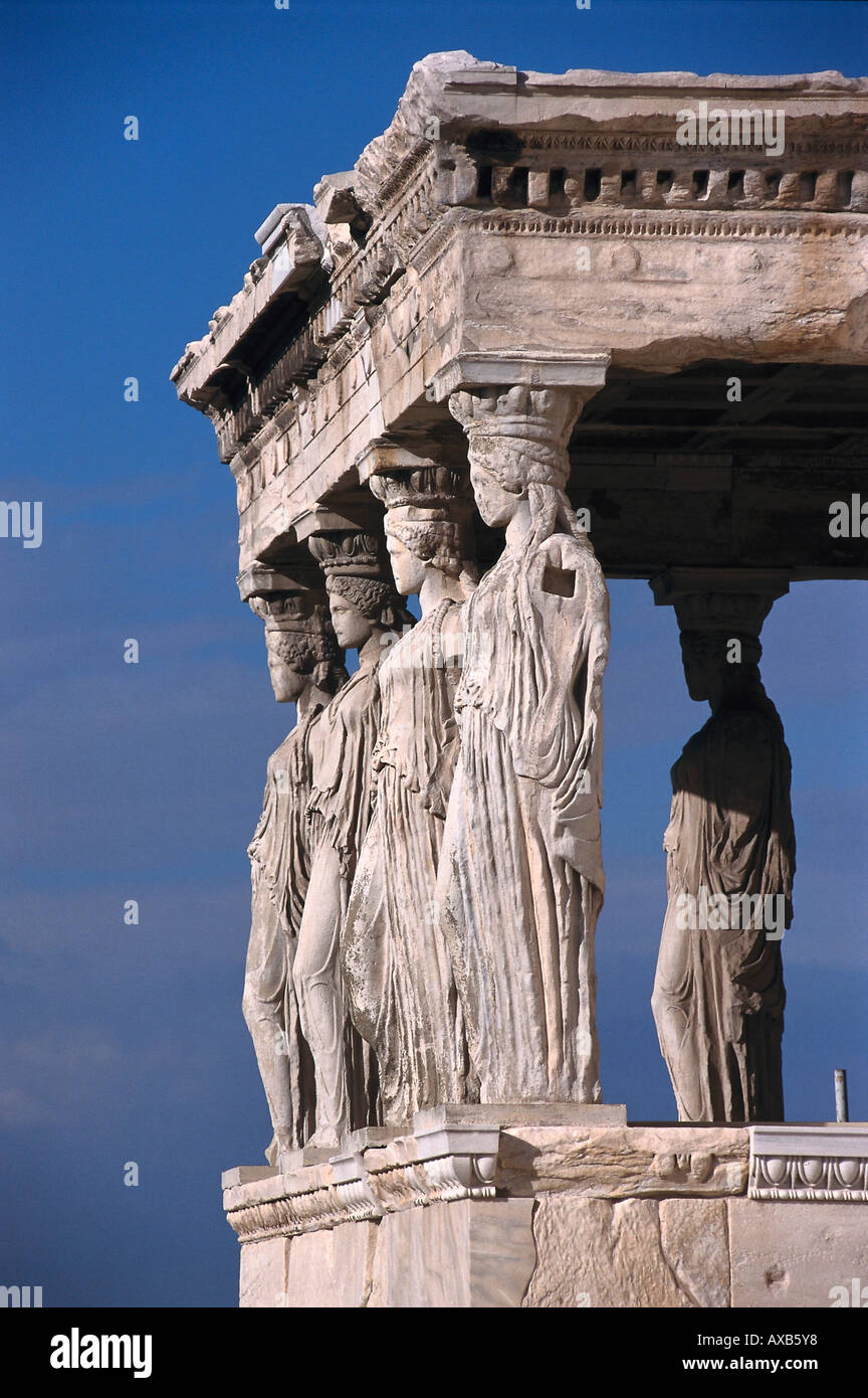 The caryatid porch of the Erechteion, Akropolis, Athens, Greece - Stock Image