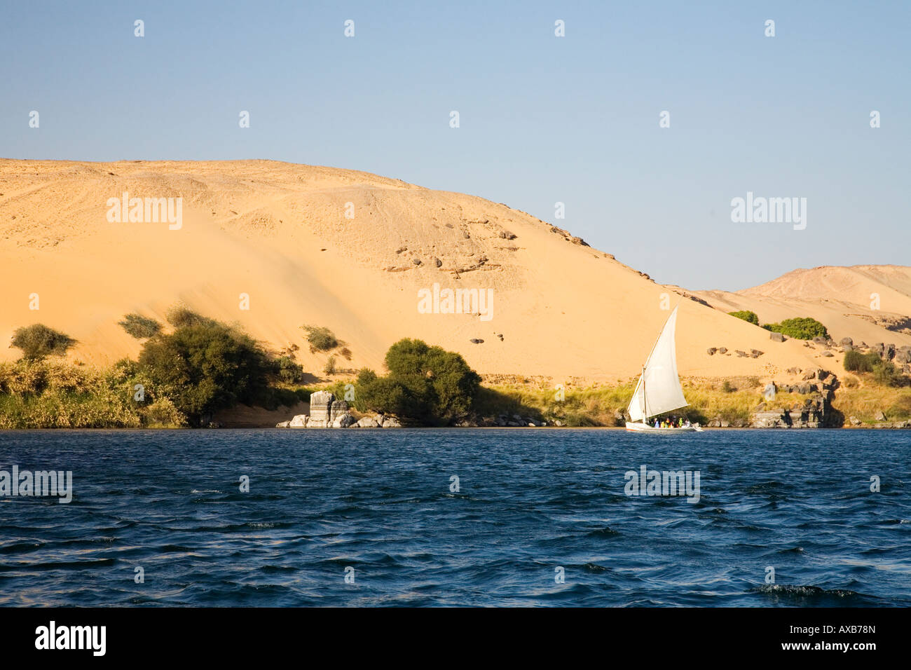Felucca boat sailing on the River Nile Aswan Upper Egypt North Africa Middle East - Stock Image
