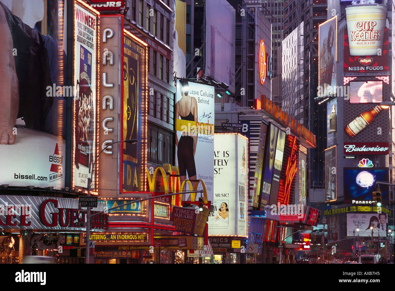 View at advertisements at Times Square, Manhattan, New York, USA, America - Stock Image