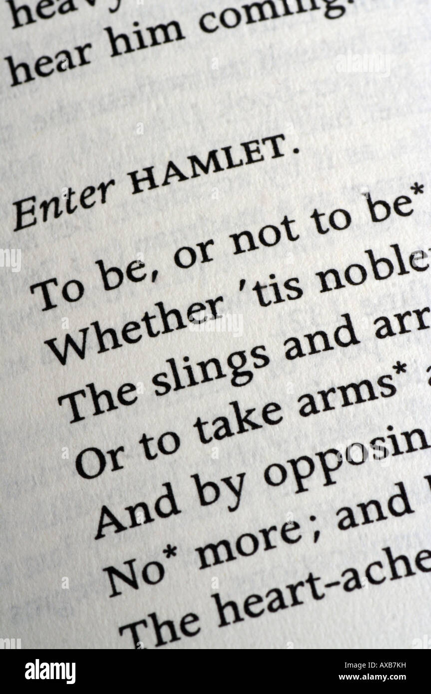 Beginning of most famous soliloquy from Hamlet, by William Shakespeare - 'To be or not to be...' - Stock Image