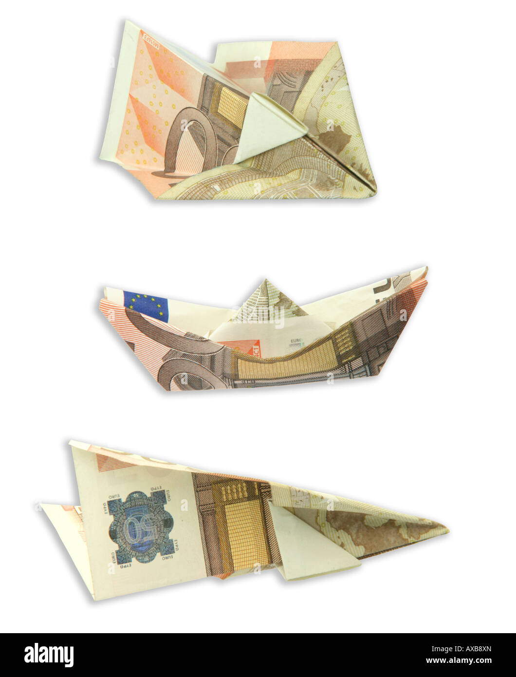 Trasportation Figures Made Of Euro Banknotes Airplanes And Boat Isolated On White Background With Clipping Path