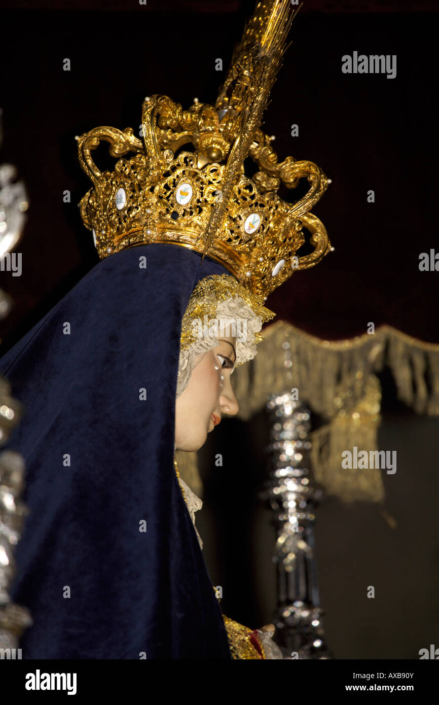 Statue of Virgin Mary at the Semana Santa parade, Malaga City, Costa del Sol, Andalucia, Spain - Stock Image