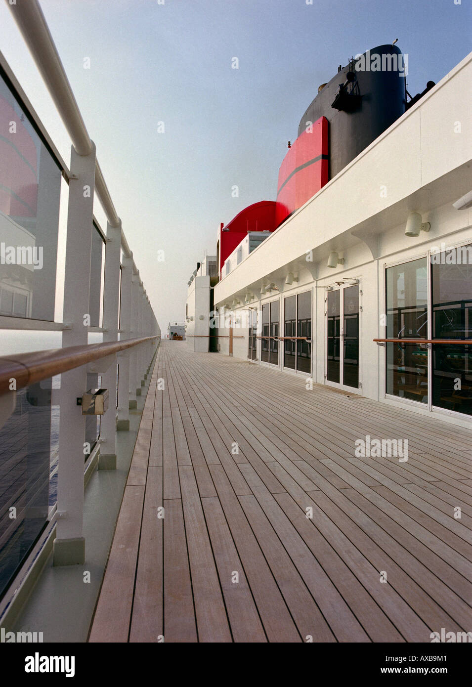 Top deck with Lookout on board the cruise ship Queen May II, Luxury Ocean Liner, QM2, Cruise, Travel - Stock Image
