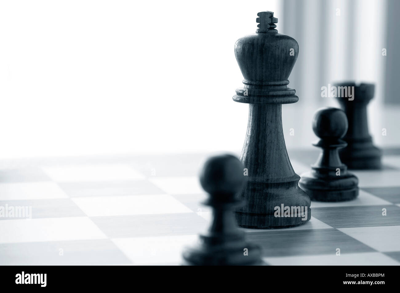 Black chess game pieces. - Stock Image