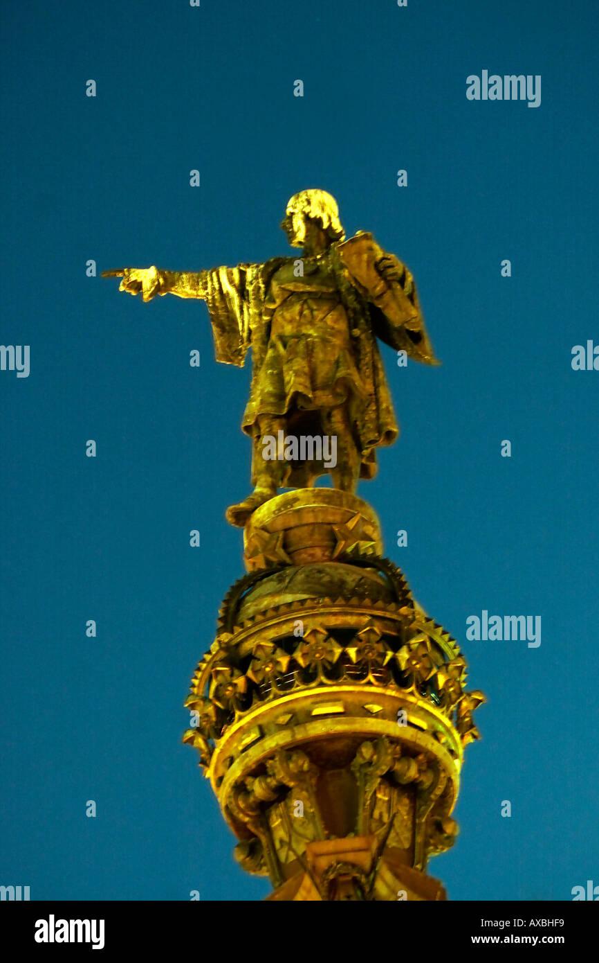 Barcelona Columbus Monument Stock Photo