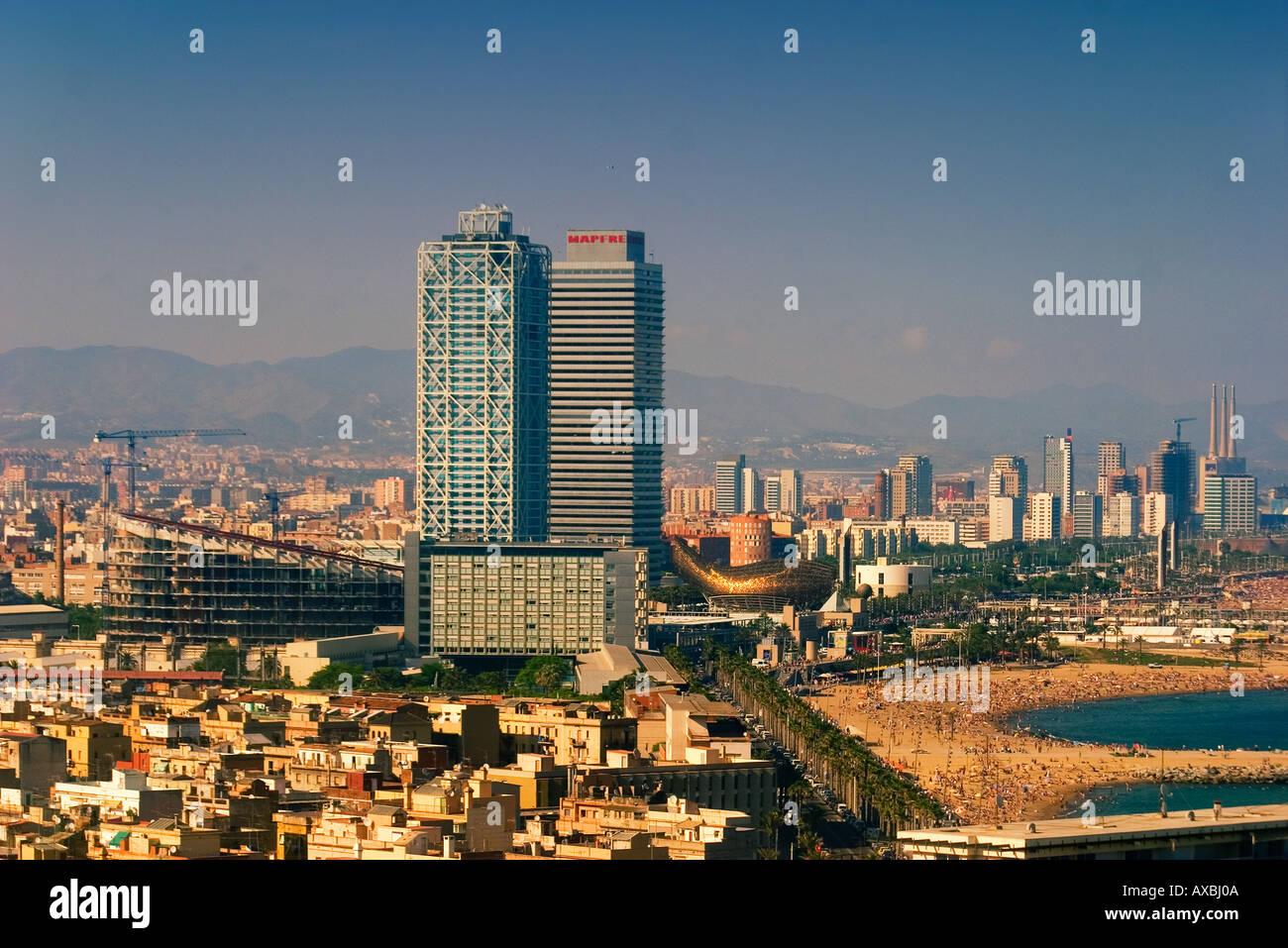ESP Spanien Barcelona beach Platja de la Barceloneta Hotels Arts Stock Photo