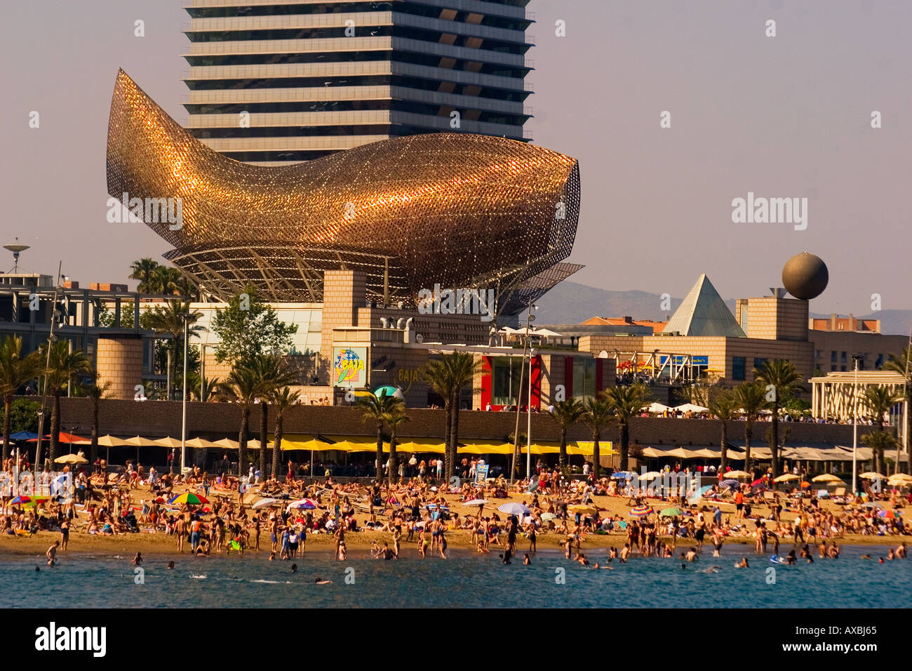 ESP Spain Barcelona beach Platja de la Barceloneta Hotels Arts skulpture by Frank Gehry Passeig Maritim Promenade - Stock Image