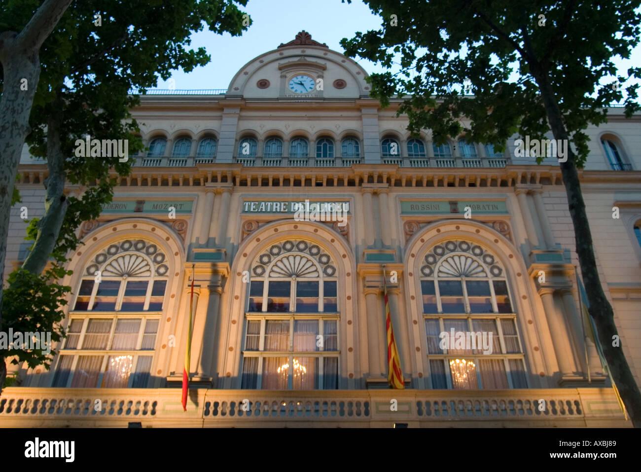 spain Barcelona Ramblas opera fassade illuminated at night Stock Photo