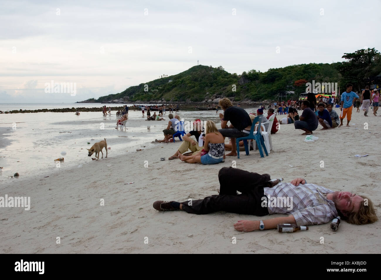 Full Moon Party aftermath A - Stock Image