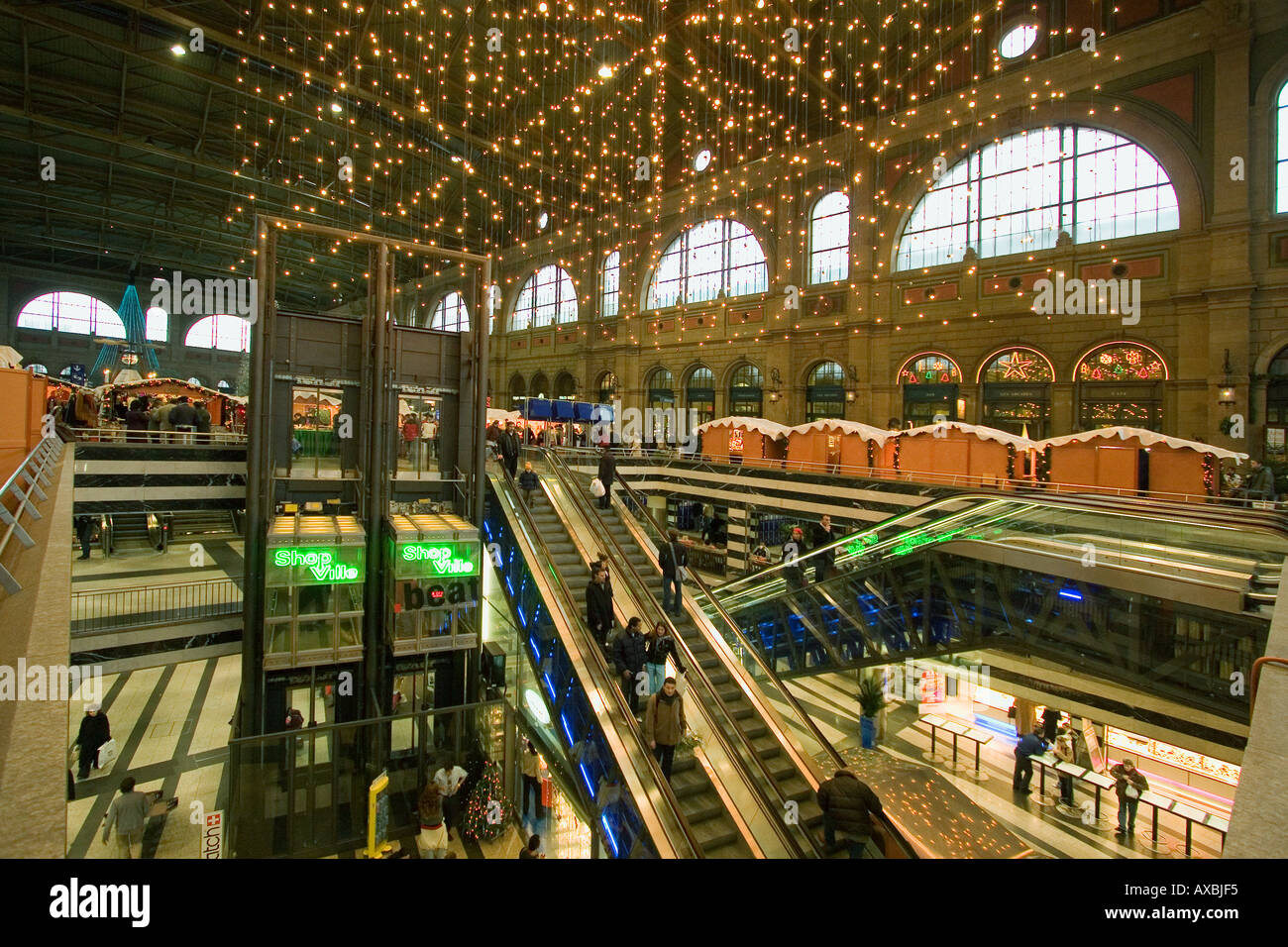 Switzerland Zurich main station christmas illumination - Stock Image