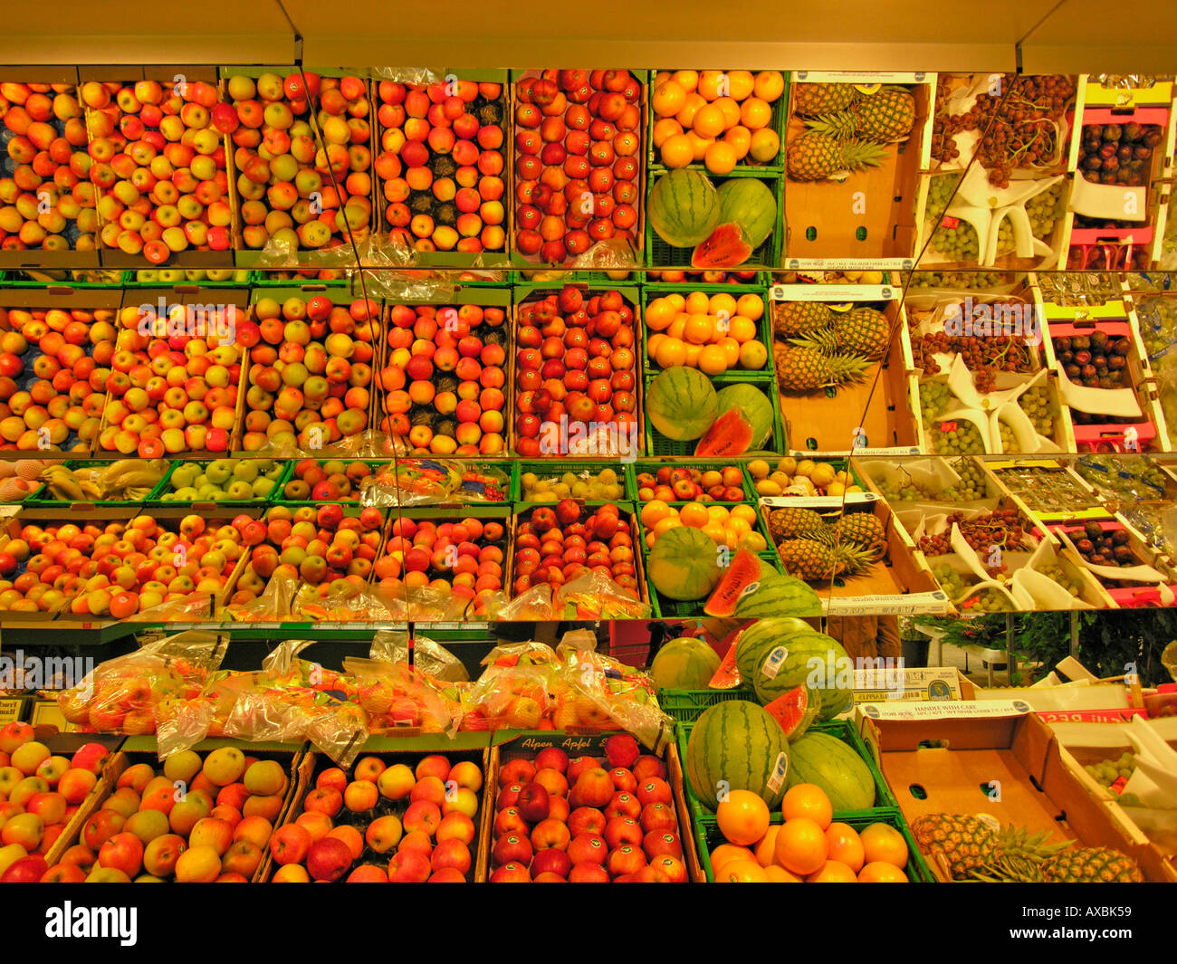 Waterfall Fruit And Veggie Displays: Display For Fresh Fruit And Vegetables In A Supermarket