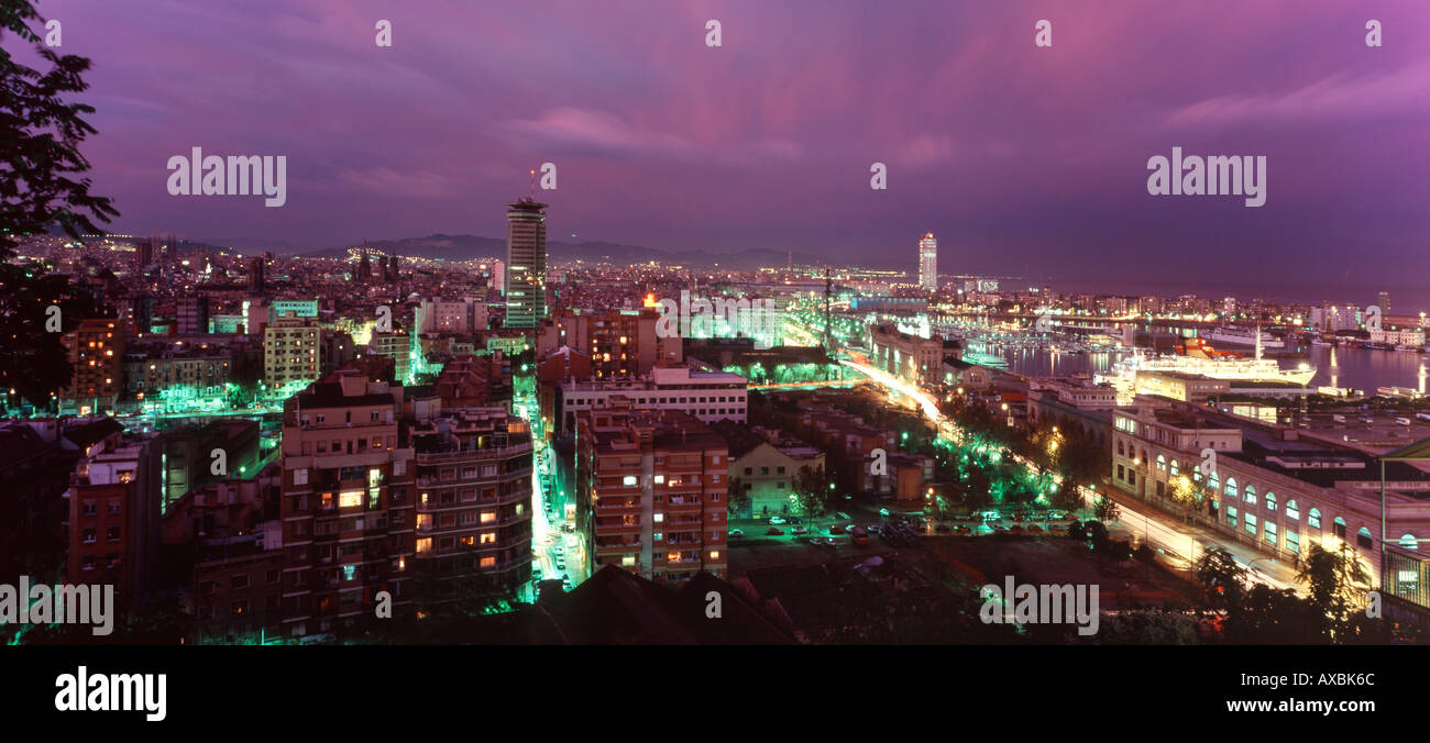 ESP Spanien Barcelona panoramic view from Montjuic hill colomus statue harbour thunderstorm - Stock Image