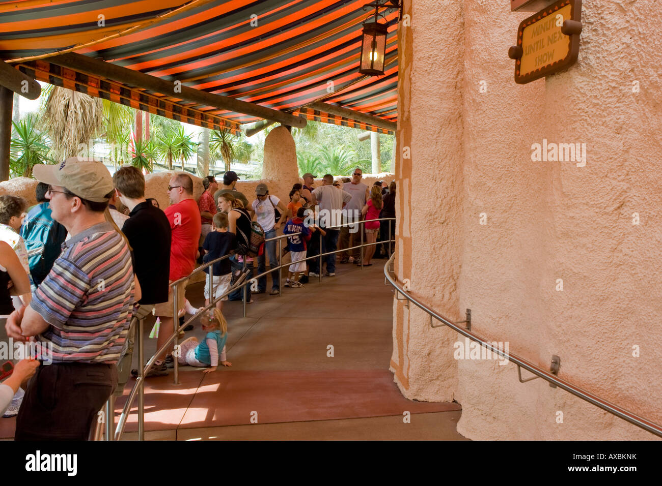 Waiting in line at Busch Gardens in Tampa Florida USA Fl U S Stock ...