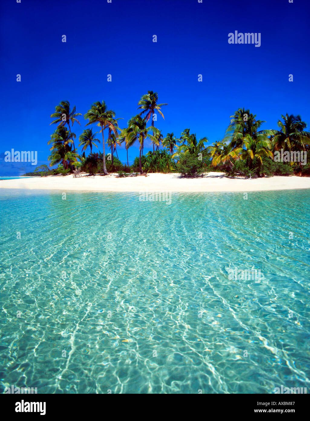 South pacific Cook Islands Aitutaki lagoon One foot Island dream beach cristal clear water - Stock Image