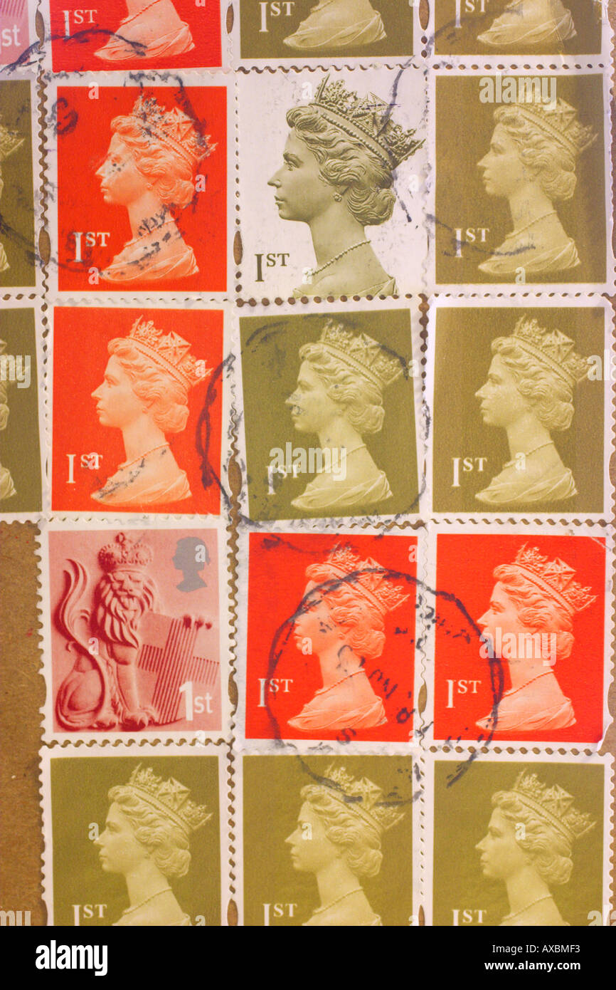Set of used 1st class stamps - Stock Image