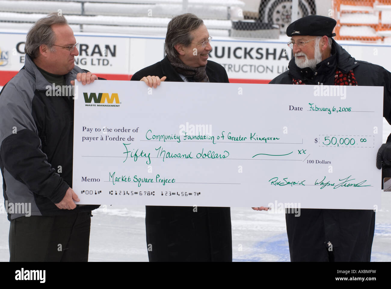 A $50000 donation presented to the Community Foundation of Greater Kingston during Febfest 08 opening ceremonies - Stock Image