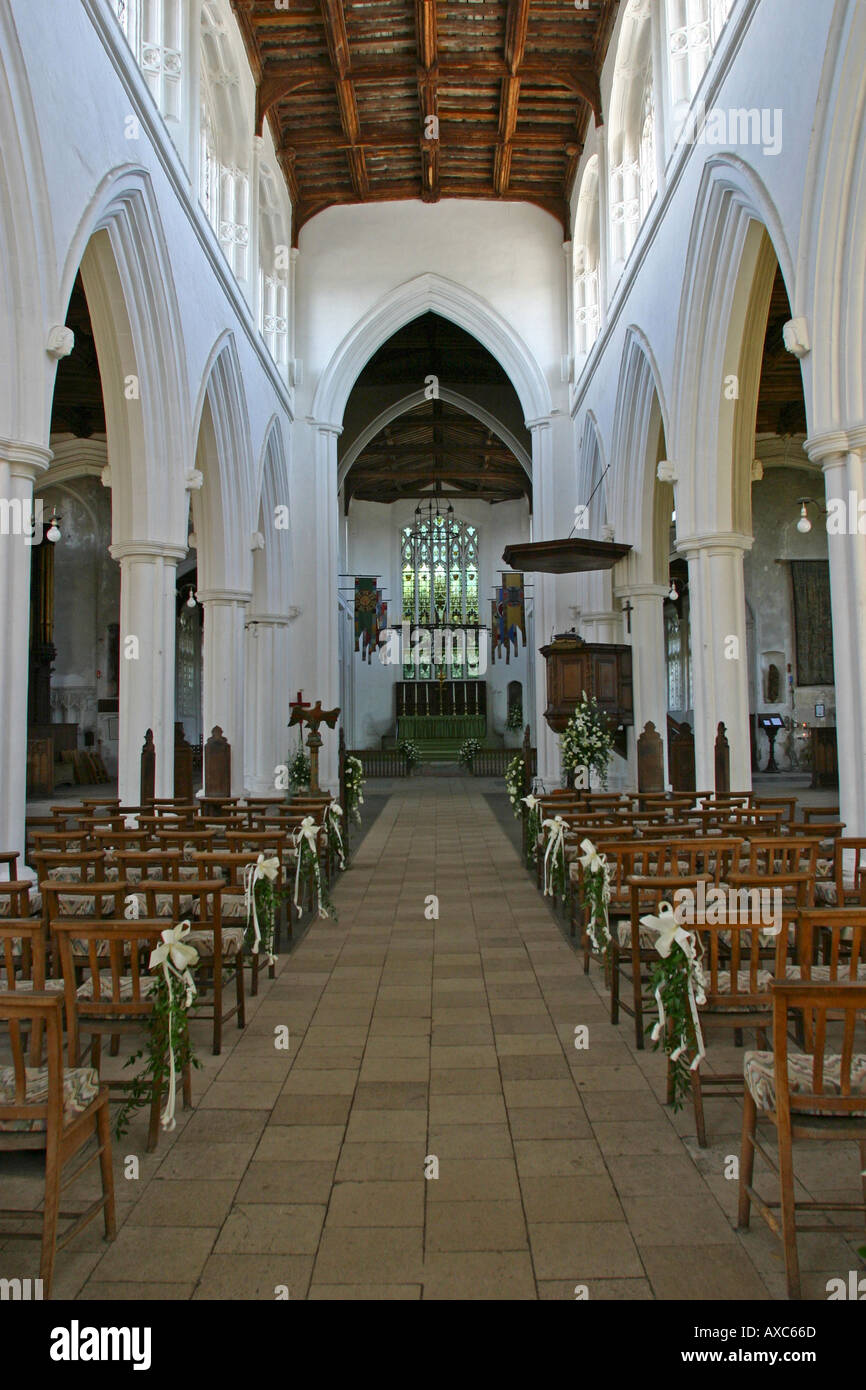 Interior St John the Baptist Our Lady St Laurence Thaxted Essex GB UK - Stock Image