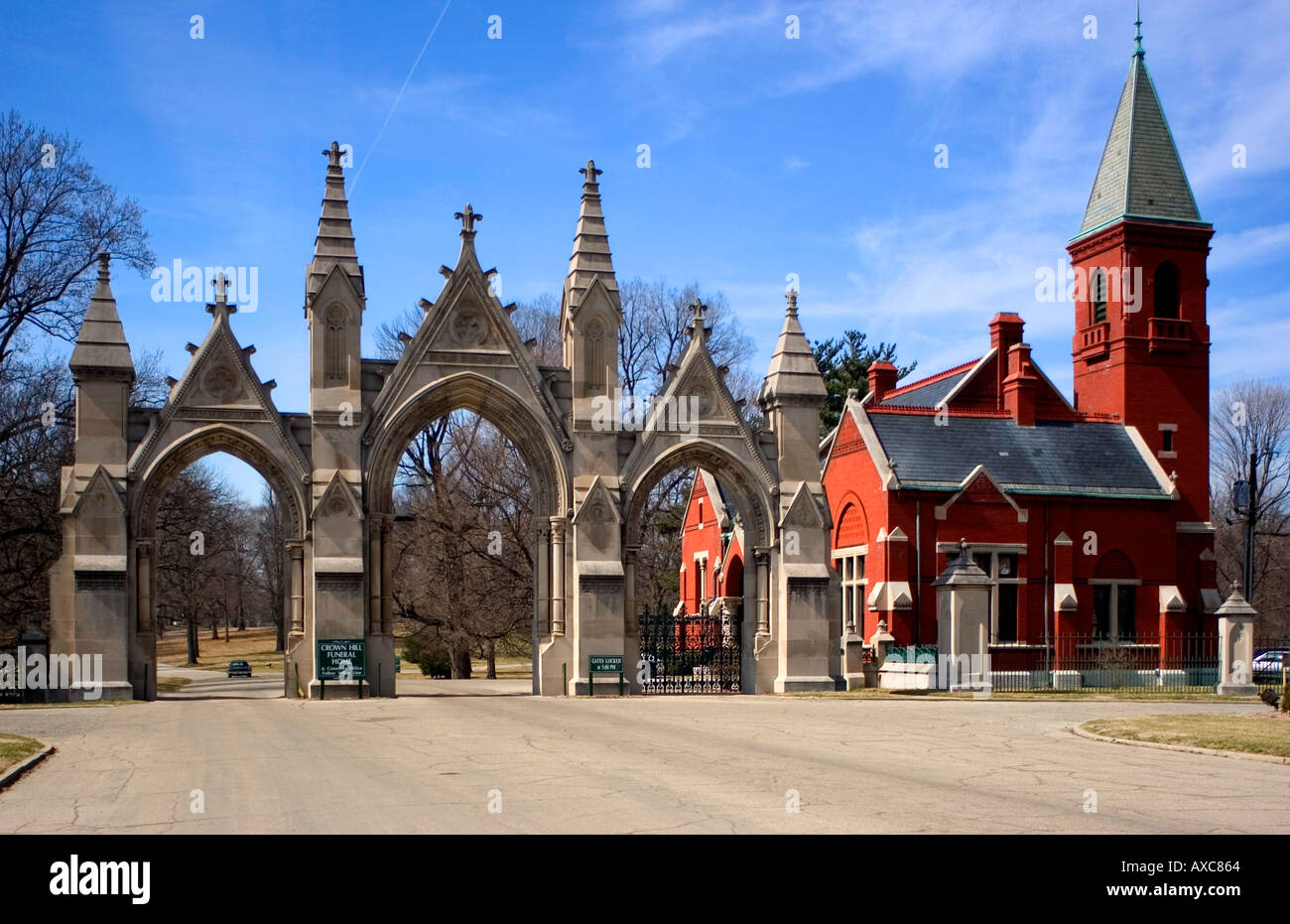 Entrance to Crown Hill Cemetery in Indianapolis Indiana where many famous individuals are buried - Stock Image