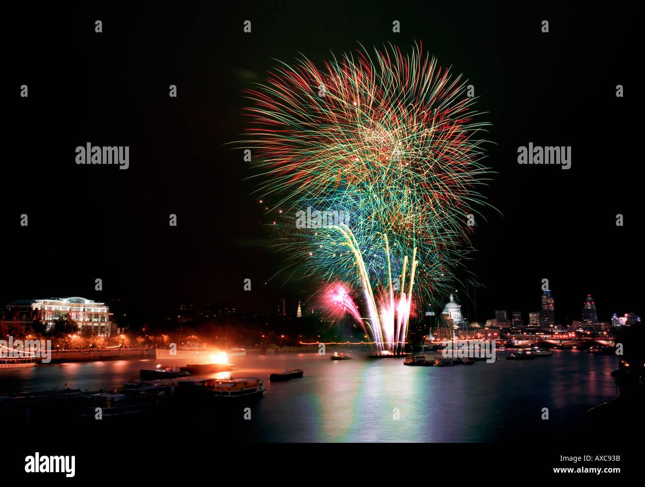 fireworks lord mayor show london england uk london england uk - Stock Image