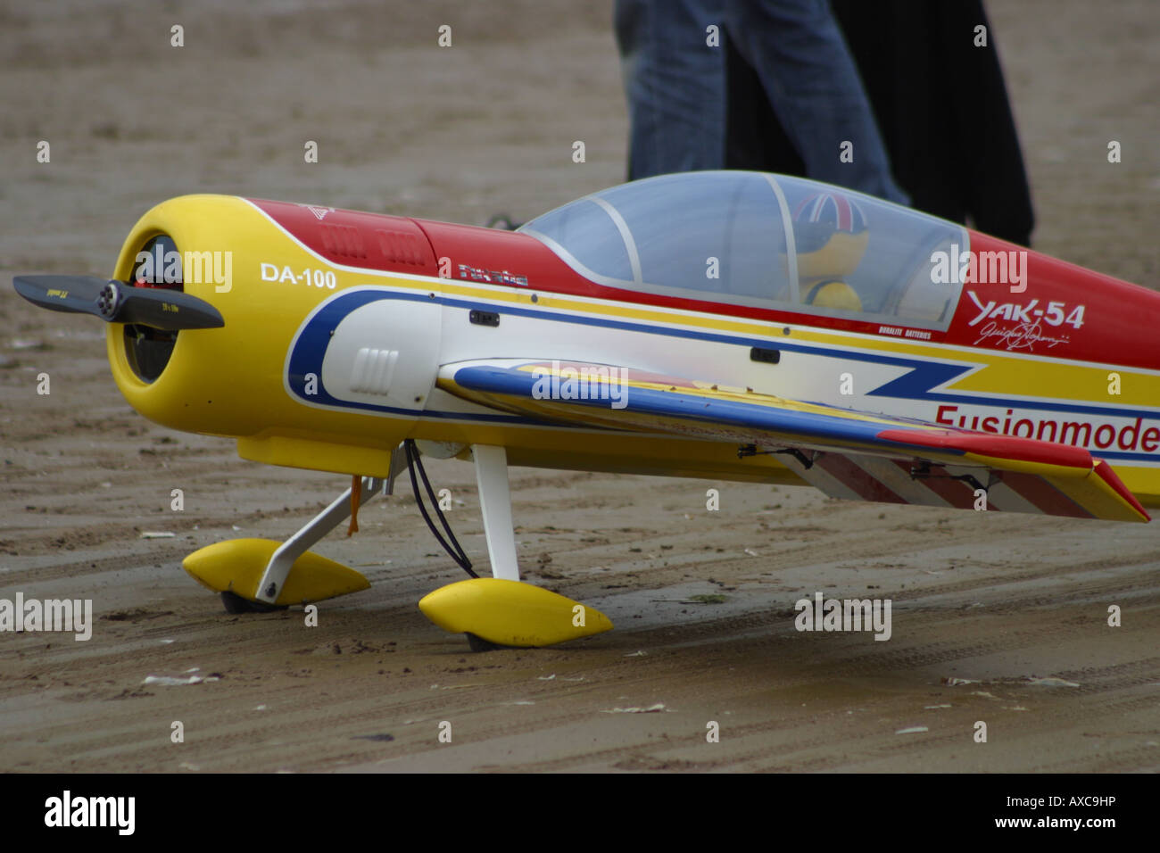 prop engine engined model monoplane plane airplane southport air show  merseyside - Stock Image