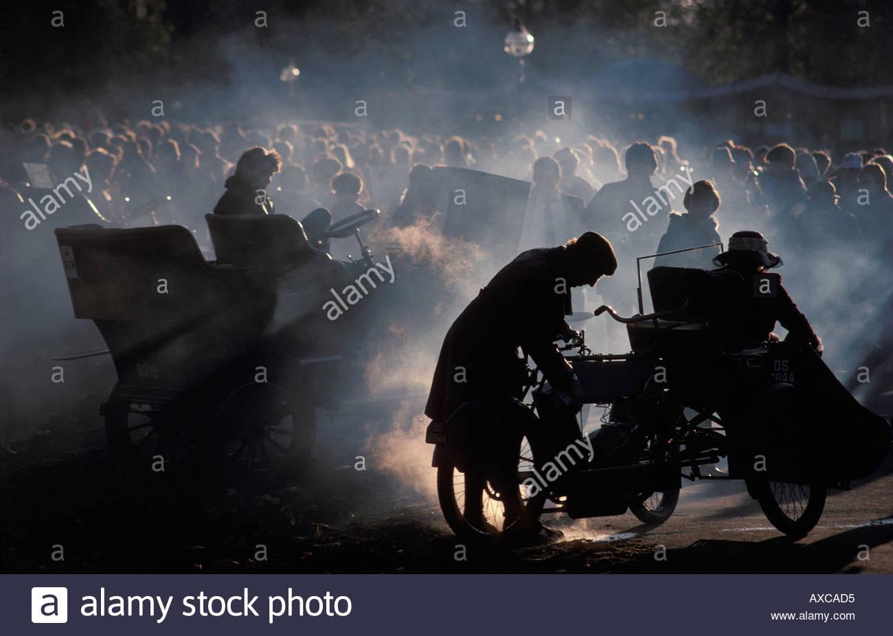 Start of London to Brighton Veteran Car Run in Hyde Park, UK - Stock Image