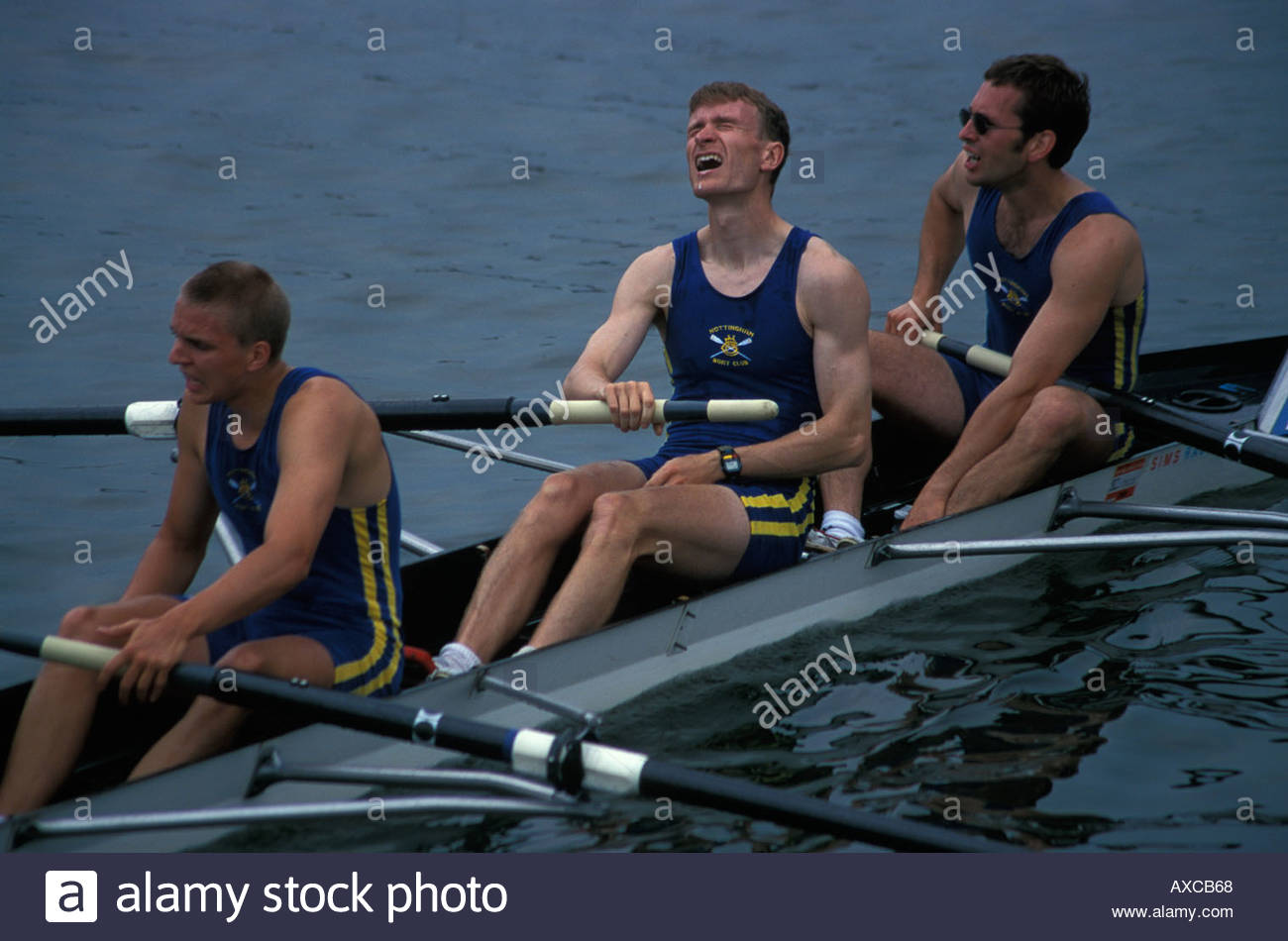 The pain of defeat for rowing competitors during the annual Henley Royal Regatta, UK - Stock Image