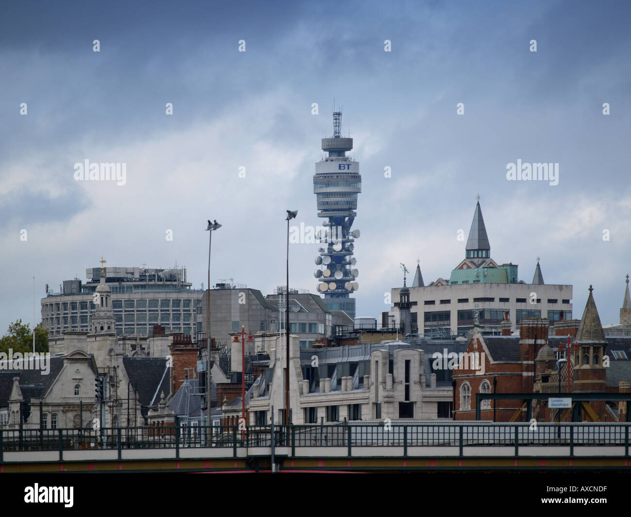 The BT British Telecom tower is a famous landmark that many people use for orientation in the city London UK - Stock Image