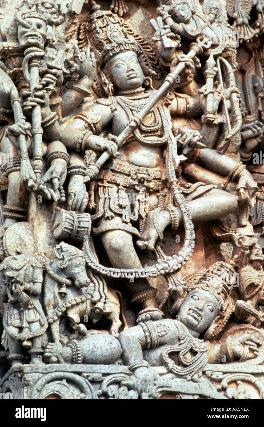 Halebid (India) hoysalesvara temple Lord Shiva killing Andhaka. - Stock Image