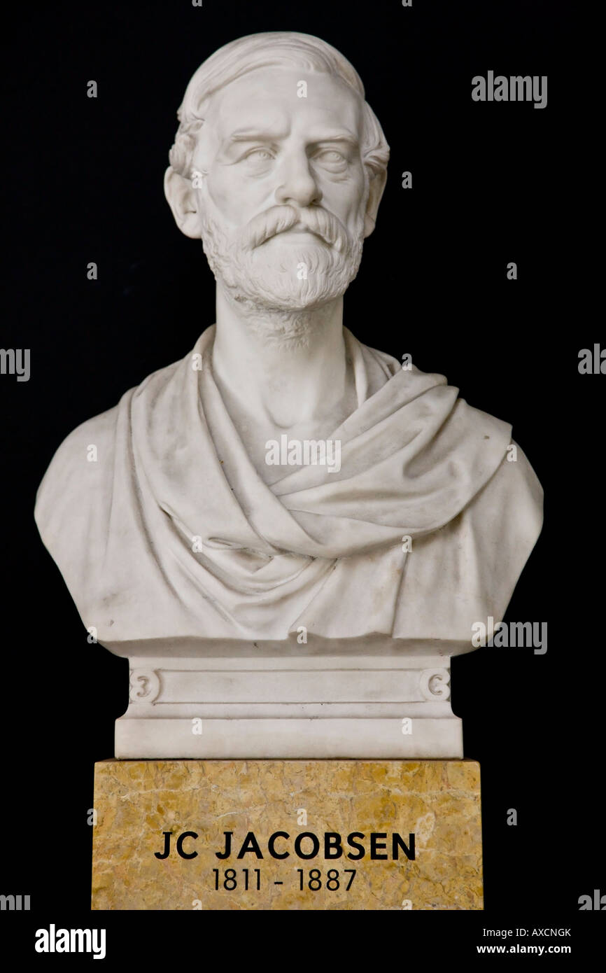 Bust statue of J. C. Jacobsen the founder of Carlsberg brewery - Stock Image