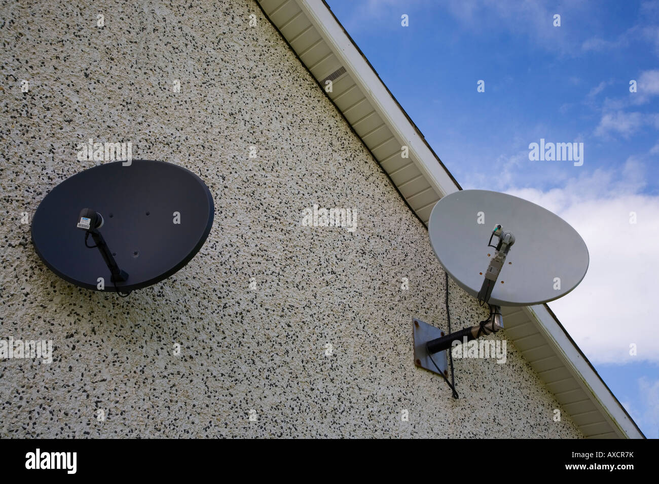 Free to air or freeview (FTA) Television and Broadband Satellite Dishes, County Waterford, Ireland - Stock Image