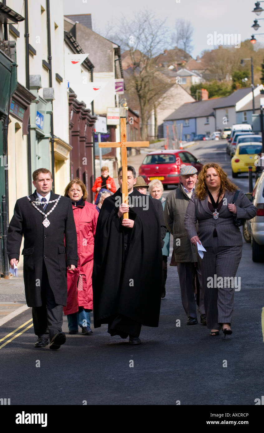 Blaenavon Council of Churches Good Friday procession of silent witness through Blaenafon town centre Torfaen South - Stock Image