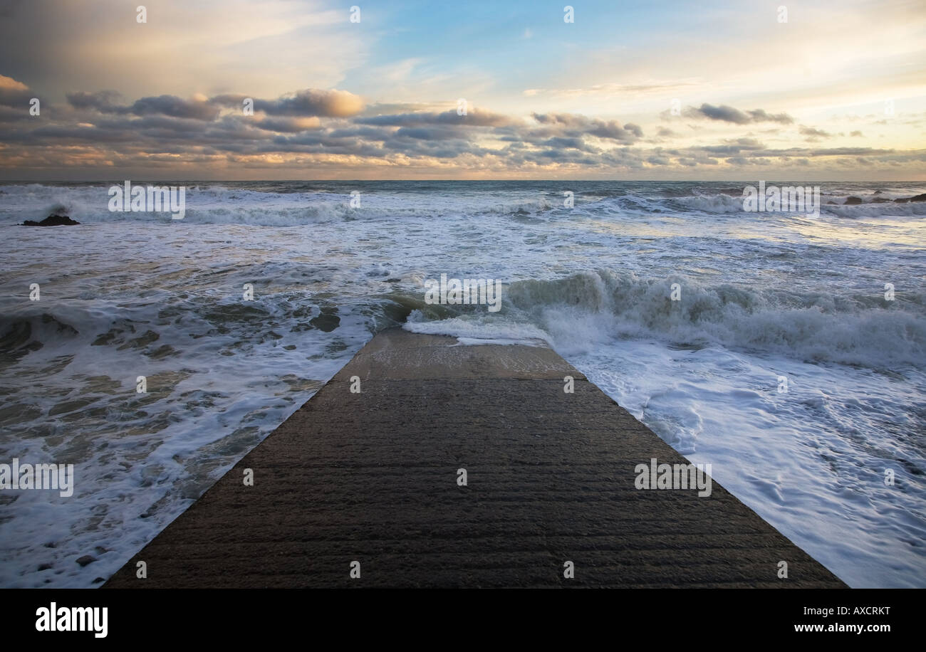 Slipway at Stage Cove near Bunmahon, from where copper ore was exported to Swansea in South Wales, the Copper Coast, - Stock Image