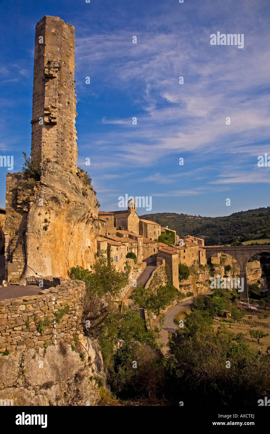 Candela, The Remain tower of the Cather Fortress, Minerve, Languedoc-Roussillon, France - Stock Image